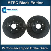 Honda Accord 2.2i-CDTi 04-08 Front Brake Discs Drilled Grooved Mtec BlackEdition