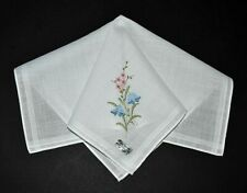 vintage handkerchief Hanky embroidery Flowers orig stickers Shabby Cottage Chic