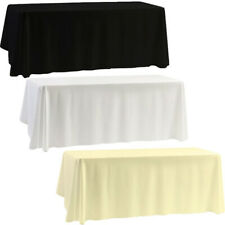 White Black Ivory Polyester Tablecloth Table Cover Cloth Rectangle Wedding Party