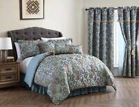 Chezmoi Collection 7-Piece Teal Jacquard Woven Paisley Comforter Set