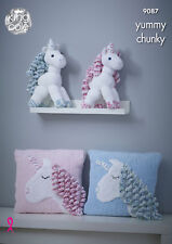Unicorns and Unicorn Cushion Knitting Pattern for Yummy Chunky King Cole 9087