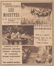 Z8378 LES MOUETTES Bateau Pneumatique - Pubblicità d'epoca - 1933 Old advert