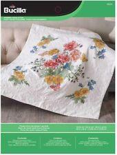 Bucilla Stamped Cross Stitch Flowers from the Garden Lap Quilt