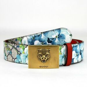 Gucci Women's/Unisex Blue Bloom Print Belt w/Gold Tiger Buckle 546384 8492