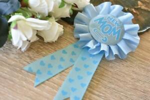 New Mom Blue Baby Shower Ribbon Rosette Pin Badge Award Brooch Favors