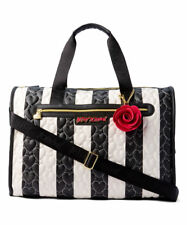 Betsey Johnson Black & White Stripe Weekend Bag Luggage Quilted Hearts