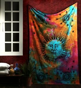 Psychedelic Indian Twin Multi Ada Sun Moon Hippie Wall Hanging Bohemian Tapestry
