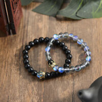 Luxury Couple His And Hers Distance Natural Stone Bracelets CZ Crown Lovers Gift