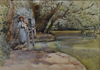 Mother and Daughter Walking by Kelvedon Park Essex C.1900 Watercolour