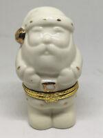 "3.25 "" Porcelain White Gold Christmas Holiday Santa Trinket Box JCM"