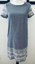 Anthropologie Everly Small Snowflake Embroidered Shift Dress Blue Ivory