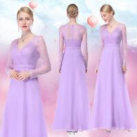 Ever Pretty Lace Long Evening Dresses V-neck Lavender Bridesmaid Gowns 08692