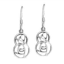 Round Modern Hidden Double Rose Sterlng Silver Earrings