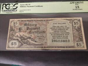 M.P.C. Series 481 $5 Apparent Fine 15 ELUSIVE SECOND PRINTING!!