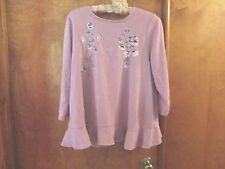 LC Lauren Conrad Embroidered Peplum Sweater Keyhole Back XL Pink Lilas