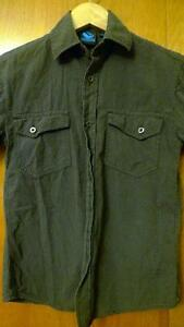 Boys Short Sleeved Burnside Gray Black Striped Size M 8 Shirt