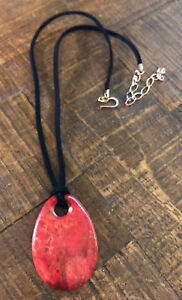 JAY KING Red Coral Pendant & Suede Leather Cord Necklace, Sterling