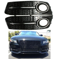 Pair Glossy Standard Style Fog Light Cover Grille Grill For Audi A4 B8 09-11