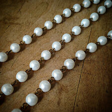 100cm Round Pearl White Bead Necklace Chain Bead Antique Bronze Jewelry Supplies