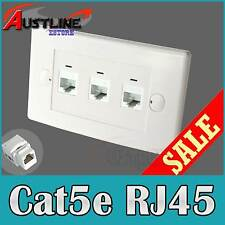 3Port Wall Plate +3 Cat5e RJ45 Keystone Jacks w/Cap