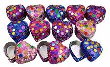A Set Of 12Pcs Mirror Work Beaded Multi Jewelry Boxes 1.4 Inches Width