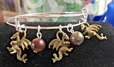 3 Mini Dragons antique bronze charms & Dragon blood Jasper Expandable Bracelet
