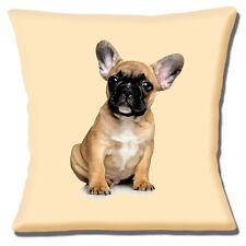 "French Bulldog Puppy 16""x16"" 40cm Cushion Cover Cute Fawn Black White on Cream"