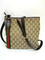 Auth GUCCI GG Pattern Sherry Shoulder Bag Canvas Leather Brown Italy 59818971