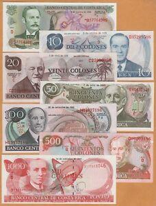 Costa Rica Set 5, 10, 20, 50, 100, 500, 1000 Colones UNC 1983-2005 Banknote