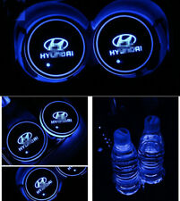 2x Colorful LED Car Cup Holder Pad for Hyundai Auto Interior Atmosphere Lights