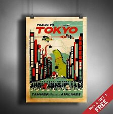 A3 Large VISIT TOKYO POSTER Vintage Retro Travel Wall Art Home Decor Picture