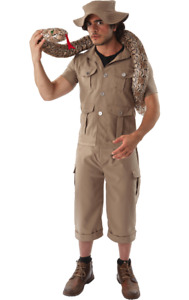 Mens Khaki Safari Jungle Explorer Suit Zoo Keeper Uniform Fancy Dress
