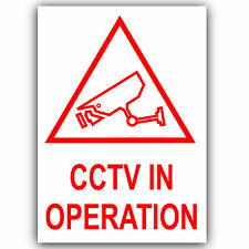 6 x CCTV In Operation Warning Security Stickers-Self Adhesive Vinyl Signs-120mm