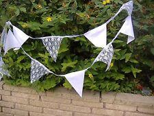 10 metres White Lace &  Fabric Bunting Vintage Shabby Chic handmade Wedding