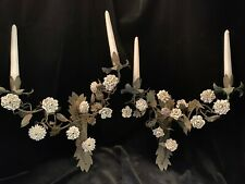 Pair French Tole Painted Sconces with Excellent Quality Porcelain Flowers