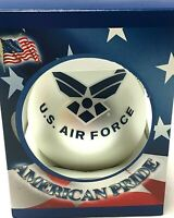 US AIR FORCE CHRISTMAS TREE ORNAMENT AIM HIGH, FLY-FIGHT-WIN GLASS MADE IN USA