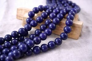 "10mm Round Dark Purple Jade Smooth Stone Beads Lots For Jewellery Making 15"""