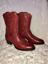 Frye Women Kelsea Stud Short Red/whiskey Western Boots Size 6.5  $ 598