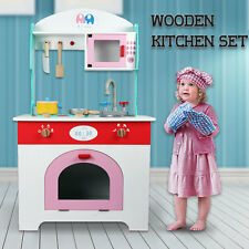 Wooden Kitchen Pretend Play Set Toy Kids Toddlers Cooking Children Cookware Whit