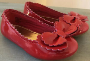 BABY GAP 7 Toddler Girls Red Patent Leather Slip On Bow Holiday Dress Shoes EUC