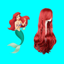 Disney Mermaid Princess Cosplay Ariel,Perruques Halloween ondulés rouges longues
