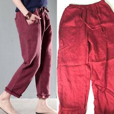 Amanda Smith 100% Linen Pants 6 Crop Ankle Capris Burgundy Red Lagenlook bw