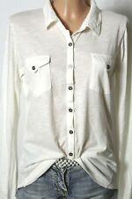 Bluse Gr. 38-40 creme-weiß Langarm Damen Shirt Hemd/Shirt Bluse
