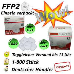 FFP2 Maske Atemschutzmaske CE-zertifiziert EU 2163 Mundschutz 5-lagig Zertifikat