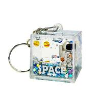 Mysterious Space Quicksand Square Keychain Astronaut Bag Charm Keyring  Jewelry