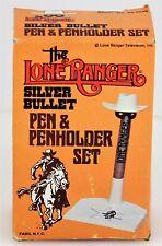 VINTAGE RARE 1981 FABIL NYC LRTV LONE RANGER SILVER BULLET PEN & HOLDER SET
