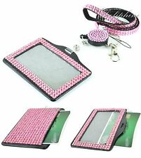 3 IN 1 Lanyard and Retractable Reel with Full Bling Horizontal ID Badge Holder