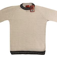 NEW Men Handmade ANDEAN ALPACA White Sweatshirt Sweater Sz S