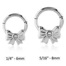 Septum Clicker 316L Surgical Steel Nose Ring Hoop Bow CZ 16 Gauge 16G