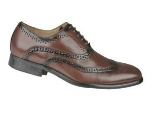 Mens Formal Wedding Shoes Brown Leather Lined Smart Suit Office